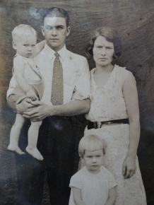 My grandfather Jesse and grandmother Maude, my uncle Gerald, and my mother Ruby Victoria.