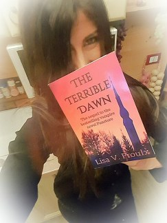 HELEN IN ITALY WITH A COPY OF THE TERRIBLE DAWN